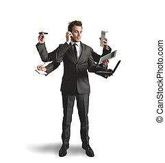 Hombre de negocios multitaseando