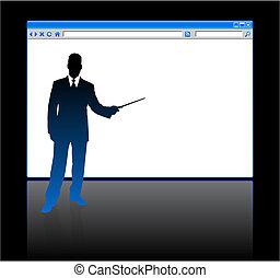 hombre de negocios, página, plano de fondo, blanco, web browser