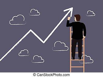 Hombre de negocios parado en la escalera dibujando gráfico de crecimiento