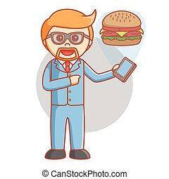 Hombre de negocios pide hamburguesa