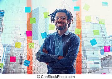 hombre de negocios, positivity, oficina., sonrisas, éxito, concepto