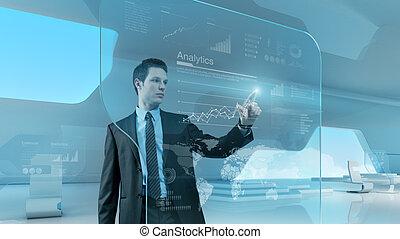 hombre de negocios, prensa, gráfico, interfaz, futuro, tecnología, touchscreen
