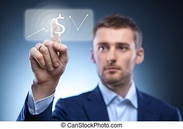 Hombre de negocios pulsa botón de dólar