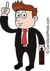 Hombre de negocios señalando y feliz