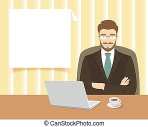 Hombre de negocios sentado en la oficina