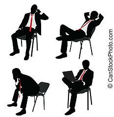 Hombre de negocios sentado en la silla