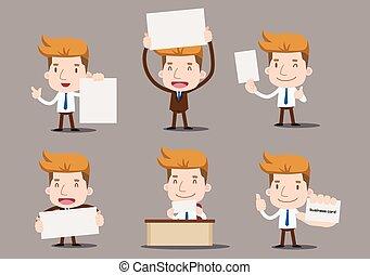 hombre de negocios, -, serie, conjunto, blanco