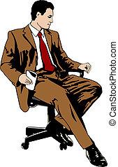 hombre de negocios, silla, oficina, sentado