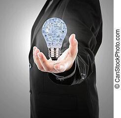 Hombre de negocios sosteniendo bombillas con concepto de negocios dentro