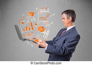 Hombre de negocios sosteniendo cuadernos con gráficos y estadísticas