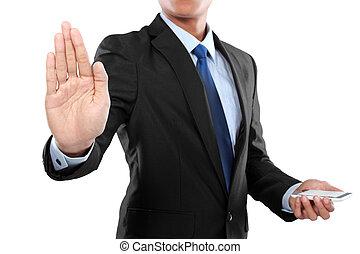 Hombre de negocios sosteniendo un teléfono móvil inteligente y una pantalla conmovedora