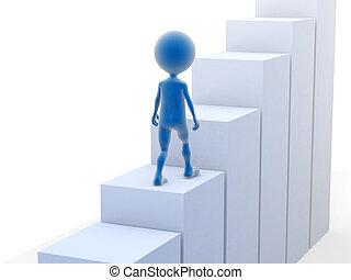 Hombre de negocios subiendo escaleras. 3d ilustrado.