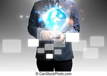 hombre de negocios, touchscreen, tenencia