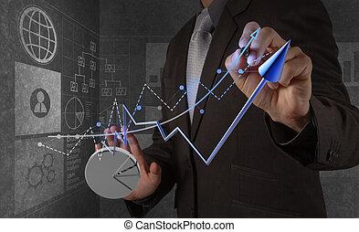 Hombre de negocios trabajando con una nueva computadora moderna y estrategia de negocios como concepto