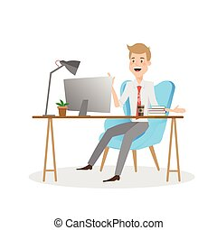 Hombre de negocios trabajando en la computadora de la oficina.