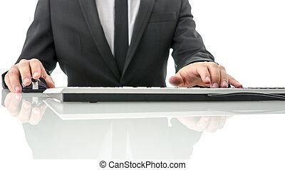 Hombre de negocios trabajando en la computadora