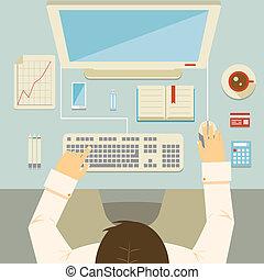 Hombre de negocios trabajando en su escritorio