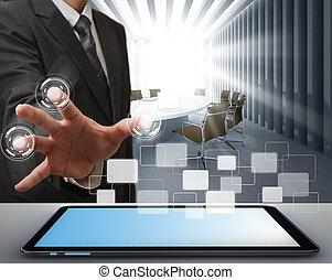 Hombre de negocios trabajando en tecnología moderna