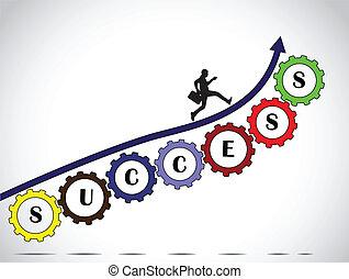 hombre de negocios, trabajo en equipo, éxito, flecha