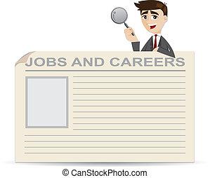 hombre de negocios, trabajos, buscando, carreras, caricatura