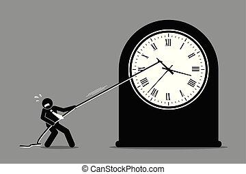 Hombre de negocios tratando de evitar que el reloj se mueva.