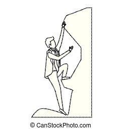 Hombre de negocios tratando de subir a la cima de la silueta de monocromo de roca