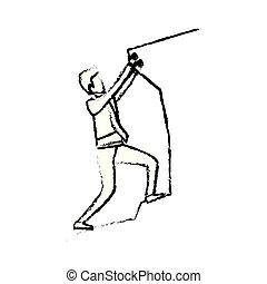 Hombre de negocios tratando de subir a la cima de la silueta de piedra monocromo borroso