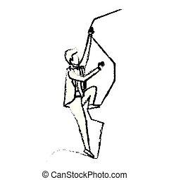 Hombre de negocios tratando de subir a la cima de la silueta de roca monocromo borroso