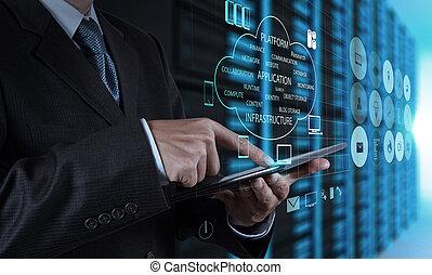 Hombre de negocios usando tablet ordenador y sala de servidores