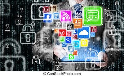 Hombre de negocios usando tablet PC con icono de las redes sociales