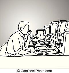 Hombre de negocios usando un teléfono de escritorio en su mesa desordenada con pantallas retro vector de ilustración dibujada con líneas negras aisladas en el fondo gris. Un concepto de negocios.