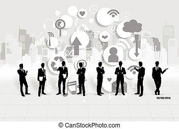 hombre de negocios, vector, application., illustration., nube