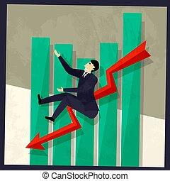 Hombre de negocios y carta de ventas negativa