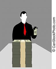 Hombre de negocios y dólares