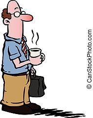 Hombre de negocios y empleado tomando café