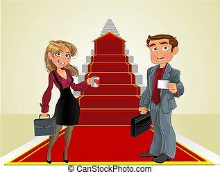 Hombre de negocios y mujer de negocios