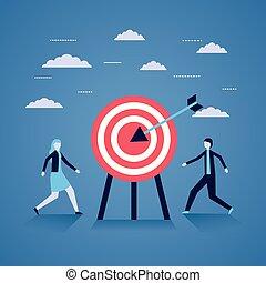 Hombre de negocios y mujer estrategia de objetivo