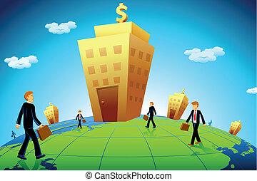 Hombre de negocios yendo al banco