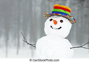 Hombre de nieve divertido del invierno