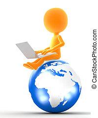 Hombre de oro sentado en el globo con portátil