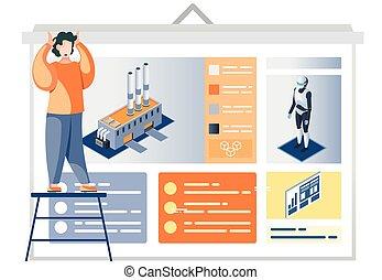 hombre, descripción, fábrica, automatización, cartel, presentación, industria, robot-driven, mirar