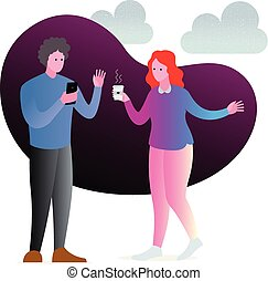 hombre, discussion., mujer, equipo, chatting., oficina