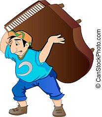 hombre, elevación, ilustración, piano