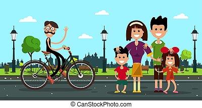 Hombre en bicicleta con familia en la carretera en el parque de la ciudad. Ilustración de diseño plano Vector.