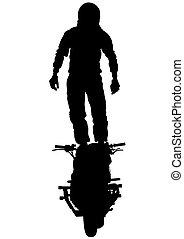 Hombre en bicicleta en blanco