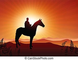 Hombre en el fondo del atardecer de caballo