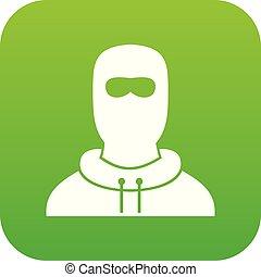 Hombre en el icono de balaclava verde digital