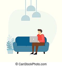 Hombre en el sofá con portátil. Un hombre de negocios trabaja en casa.