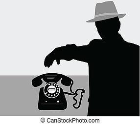Hombre en el teléfono - vector silueta