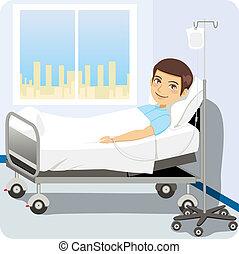 Hombre en la cama del hospital